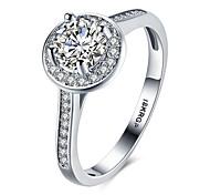 cheap -Women's Statement Ring Band Ring White Synthetic Gemstones Sterling Silver Zircon Cubic Zirconia Imitation Diamond Circle Geometric