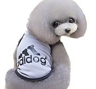 Недорогие -Кошка Собака Футболка Одежда для собак Буквы и цифры Серый Синий Розовый Терилен Костюм Для домашних животных Муж. Жен. На каждый день