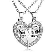 High Quality Best Friends Pendant Necklace Rhinestone Broken Heart Panda Pendants & Necklaces For Women Men Friends