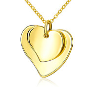 Women's Pendant Necklaces Gold Plated Heart Fashion Yellow Jewelry Wedding Party Daily 1pc
