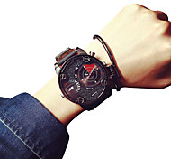 Men's Quartz Casual Fashion New Watch Leather Belt Big Round Alloy Dial Watch Cool Watch Unique Watch