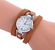 Women's Casual Watch Fashion Watch Bracelet Watch Quartz / PU Band Casual Cool Black Red Brown Green Beige