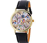 Женские Нарядные часы Модные часы Наручные часы / Кварцевый PU Группа Цветы Черный Белый Красный Коричневый Зеленый