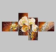 Недорогие -Hang-роспись маслом Ручная роспись - Цветочные мотивы / ботанический Классика Modern 4 панели