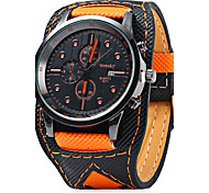 cheap -Men's Wrist watch Quartz Calendar / date / day / Leather Band Casual Cool Black Orange