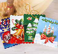 10Pcs Christmas Tree Ornaments Greeting Card Card Wish Card 6*5.5Cm Design Is Random