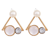 cheap -New Fashion 2016 Fine Jewelry Gold Plated Metal Triangle Simulated Pearl Stud Earrings Opal Earrings for Women Party
