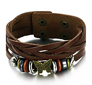 Men's Fashion Jewelry Alloy Vintage Adjustable Leather Bracelet Loom Wristband Casual/Daily Gift Accessories
