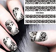 сексуальный и элегантный черный кружева аппликация ногтей водяной знак
