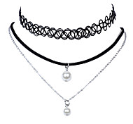 Vintage Classic Jewelry Simple Multilayers with 2 Faux Pearls Pendants Black Elastic Stretch Choker Necklace