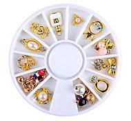 1 wheel (12pcs rhinestones) Unha Arte Decoração strass pérolas maquiagem Cosméticos Prego Design Arte