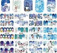 cheap -12Designs/set Water Transfer Sticker / Nail Sticker / Christmas Ornaments Nail Stamping Template Stickers Nail Decals / Christmas