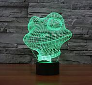 Недорогие -лягушка касания затемнением 3D LED свет ночи 7colorful украшения атмосфера новизны светильника освещения свет рождества