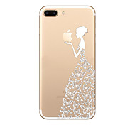 Girl Pattern  Ultra-thin Transparent Playing with Apple Logo Case Back Cover Case Soft TPU  for iPhone 7  7 plus  6s 6Plus SE 5S 5