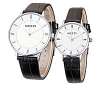 Недорогие -KEZZI Для пары Кварцевый Наручные часы / Горячая распродажа Кожа Группа На каждый день минималист Cool Черный Белый Коричневый