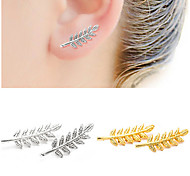 Women's Gold Silver Black Leaf Stud Earrings (1 Pair)