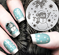 2016 Latest Version Fashion Christmas Snowman Pattern Nail Art Stamping Image Template Plates