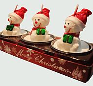 baratos -Vela do Natal 3pcs forma bonito boneco de neve