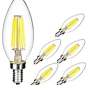 cheap -6pcs 5W 560lm E14 LED Filament Bulbs C35 6 LED Beads COB Warm White Cold White 220-240V