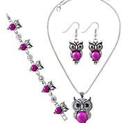 preiswerte -Damen Türkis Sterling Silber Schmuck-Set 1 Halskette / 1 Paar Ohrringe / 1 Armreif - Rot / Blau / Rosa Für Party / Alltag / Normal