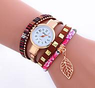 Недорогие -Жен. Наручные часы Часы-браслет Модные часы Кварцевый Цветной Панк PU Группа Кулоны Блестящие Листья Винтаж Конфеты На каждый день