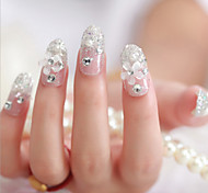 24Pcs The Bride False Nails Cute Patch Of Nail Art Piece Finished Product Nail Silver Flower Nail Art Piece
