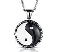 Недорогие -панк-стиль кулон ожерелье шарма нержавеющей стали 316l ретро черный белый мужские украшения