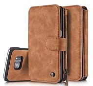 abordables -Coque Pour Samsung Galaxy S7 edge S7 Porte Carte Portefeuille Antichoc Clapet Coque Intégrale Couleur unie Dur faux cuir pour S7 edge S7