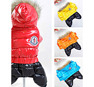 Dog Coat Hoodie Jumpsuit Dog Clothes Keep Warm Windproof Sports Color Block Orange Yellow Red Blue Costume For Pets