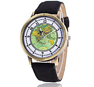 Women's Fashion Watch Wrist watch Quartz Fabric Band Vintage Casual World Map Black White Blue Red Brown Green YellowYellow Brown Red