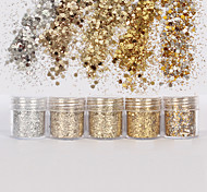 cheap -1 Box 10ml Mixed Nail Art Glitter Powder Champagne Gold Silver Sequins Super Makeup Glitter Nail Powder Set