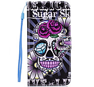 cheap -Case For Apple iPhone 5 Case iPhone 6 iPhone 7 Card Holder Wallet with Stand Flip Back Cover Skull Hard PU Leather for iPhone 7 Plus