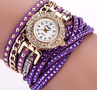 cheap -Women's Quartz Wrist Watch Bracelet Watch Colorful Punk PU Band Charm Flower Sparkle Vintage Candy color Casual Bohemian Fashion Cool
