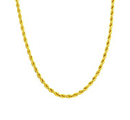 Copper 24K Gold Rope Chain Necklace Gold Necklace For Man Women 5MM Width 18in/20in/24in/30in/36in
