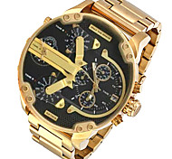 Men's Military Watch Dress Watch Fashion Watch Wrist watch Quartz Calendar Dual Time Zones Punk Alloy Band Charm Cool Casual Luxury Gold