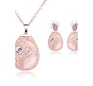 preiswerte -Damen Synthetischer Opal Strass / Opal Schmuck-Set 1 Halskette / 1 Paar Ohrringe - Grundlegend Oval Gold Schmuckset Für Hochzeit / Party