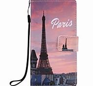 Pour huawei p9 lite p8 lite eiffel tower peinture pu phone case