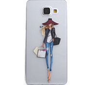cheap -For Samsung Galaxy A5 A3 (2016) Case Cover Fashion Girl Pattern High Permeability Painting TPU Material Phone Case