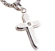 мужской стиль панк 316l кулон ожерелье нержавеющей стали шарма новый ретро крест ювелирные изделия горный хрусталь
