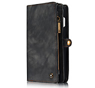 cheap -Case For Apple iPhone 6 iPhone 7 Plus iPhone 7 Card Holder Wallet Flip Full Body Cases Solid Color Hard Genuine Leather for iPhone 7 Plus