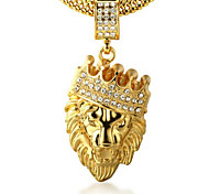 cheap -Men's Crown Rhinestone Gold 18K Gold Imitation Diamond Pendant Necklace - Personalized Rock Crown Lion Animal Necklace For Party Gift
