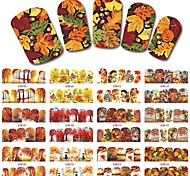 12 Designs Nail Full Cover Wraps Autumn Designs Nail Sticker Red Maple DIY Water Transfer Stickers Decals BN505-516