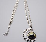 Недорогие -Жен. Прочее Кошка MOON Животный принт форма Классический европейский Ожерелья с подвесками Синтетические драгоценные камни Стерлинговое