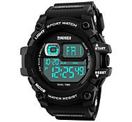 SKMEI Муж. Спортивные часы Цифровой LED Календарь Секундомер Защита от влаги тревога Хронометр Фосфоресцирующий PU Группа Cool Черный