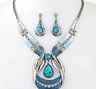 Недорогие -Жен. Набор украшений Серьги-слезки Ожерелья с подвесками Синтетические драгоценные камни Резина Сплав Свисающие Elegant Мода европейский