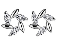 Stud Earrings Crystal AAA Cubic Zirconia Sterling Silver Zircon Cubic Zirconia Simulated Diamond Alloy Fashion White Purple JewelryParty