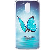 Pour la housse moteur motorola moto g4 motif papillon lumineux matériel tpu imd process soft phone case