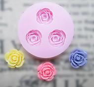 Недорогие -DIY три отверстия Цветок силиконовые формы Фондант Пресс-формы Сахар Craft Инструменты Смола цветы Плесень пресс-формы для тортов