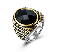 Men's Ring Fashion European Costume Jewelry Stainless Steel Titanium Steel Glass Jewelry For Party Daily Casual