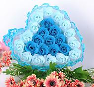 день рекламные подарки свадьба Валентина поставляет 24 цветка кружева в форме сердца цветок мыло мыло цветок подарочной коробке